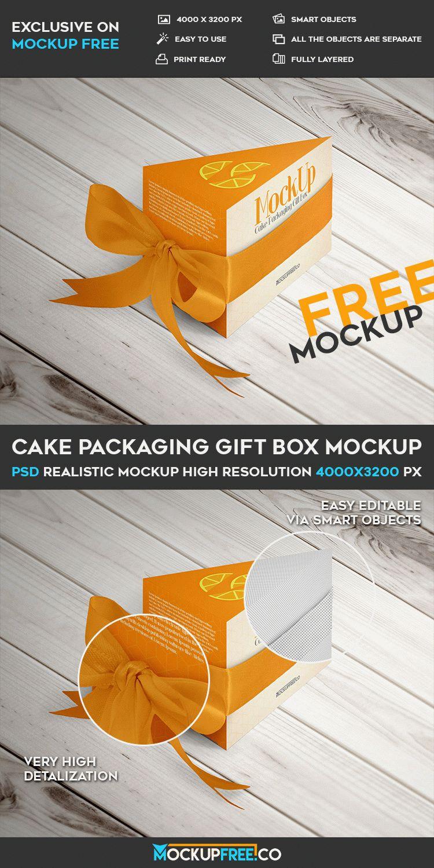 Cake Packaging Gift Box Free Psd Mockup Download