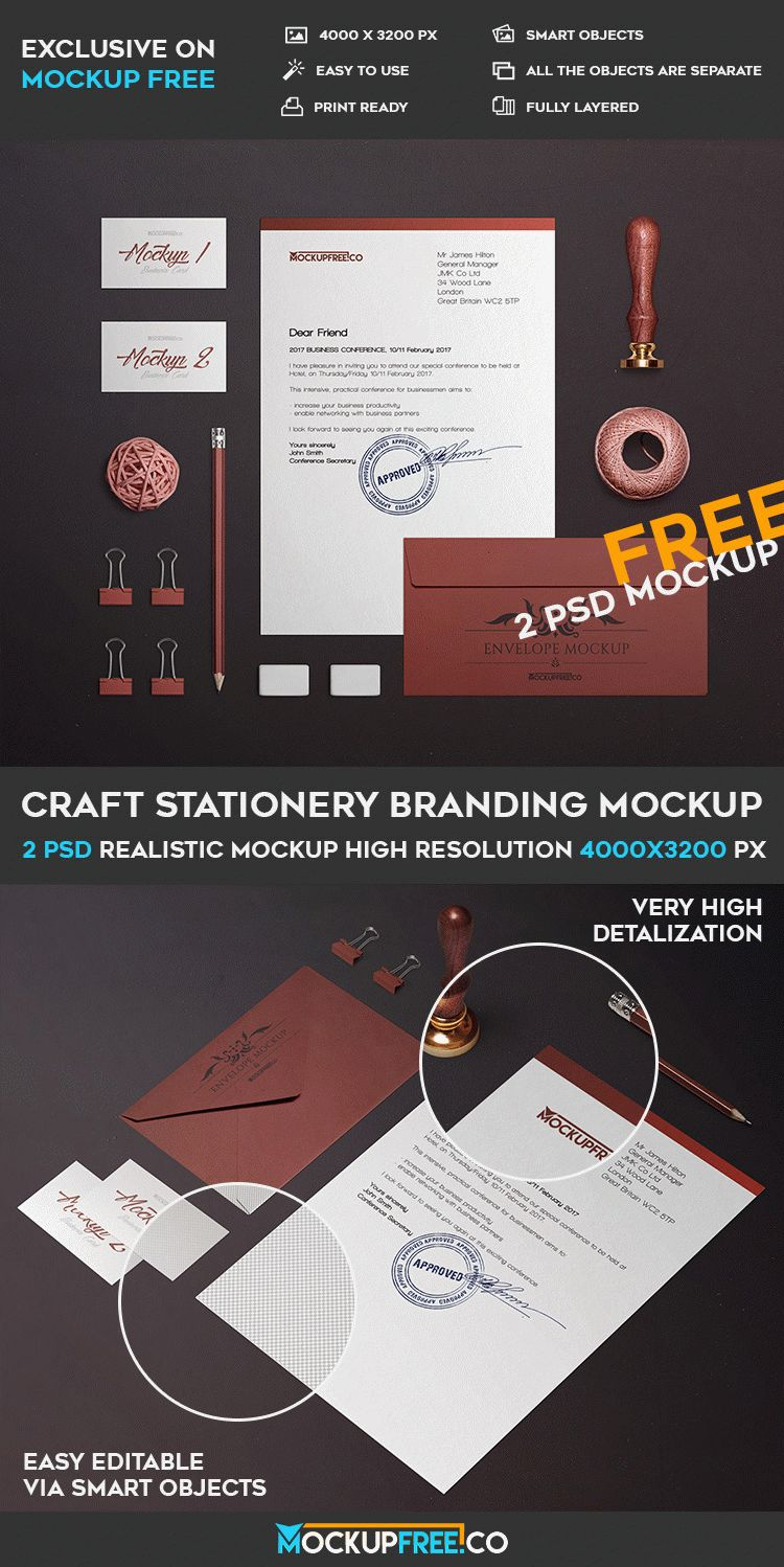 Craft Stationery Branding - 2 Free PSD Mockups