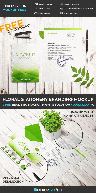 Floral Stationery Branding - 2 Free PSD Mockups