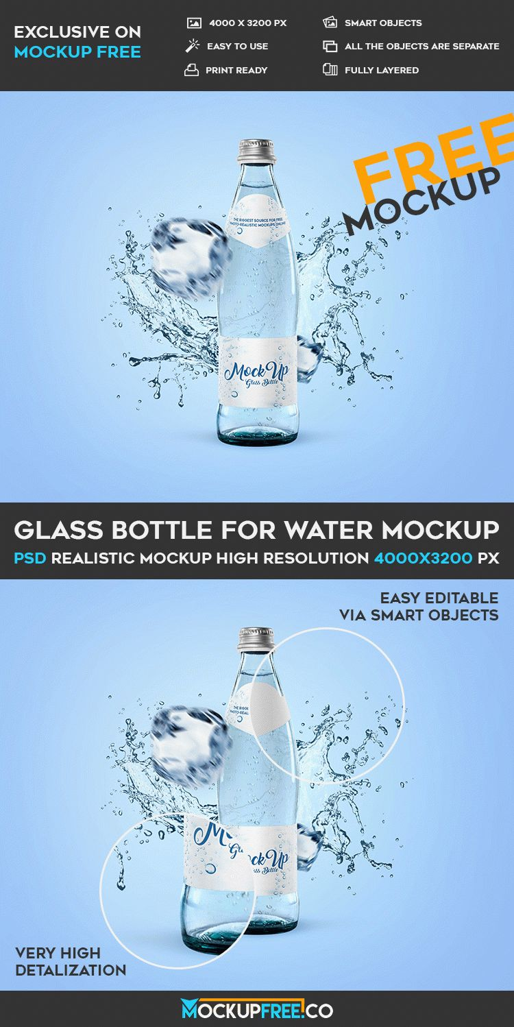 Glass Bottle for Water - Free PSD Mockup