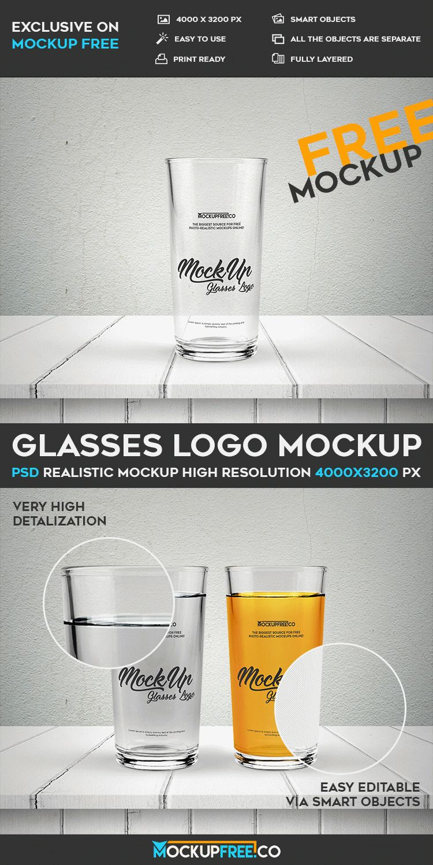 Glasses Logo - Free PSD Mockup
