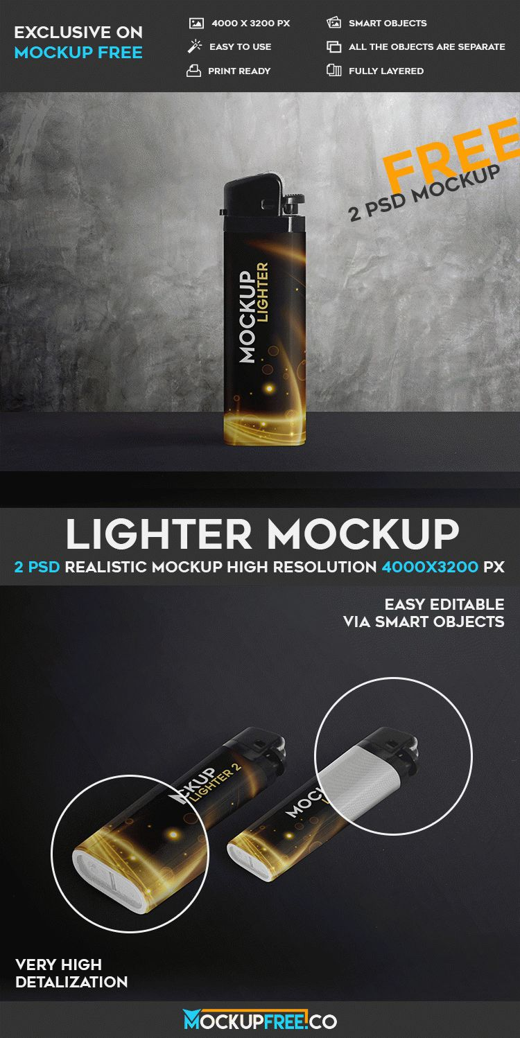 Lighter - 2 Free PSD Mockups