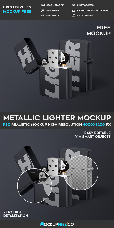 Metallic Lighter - Free PSD Mockup | Download