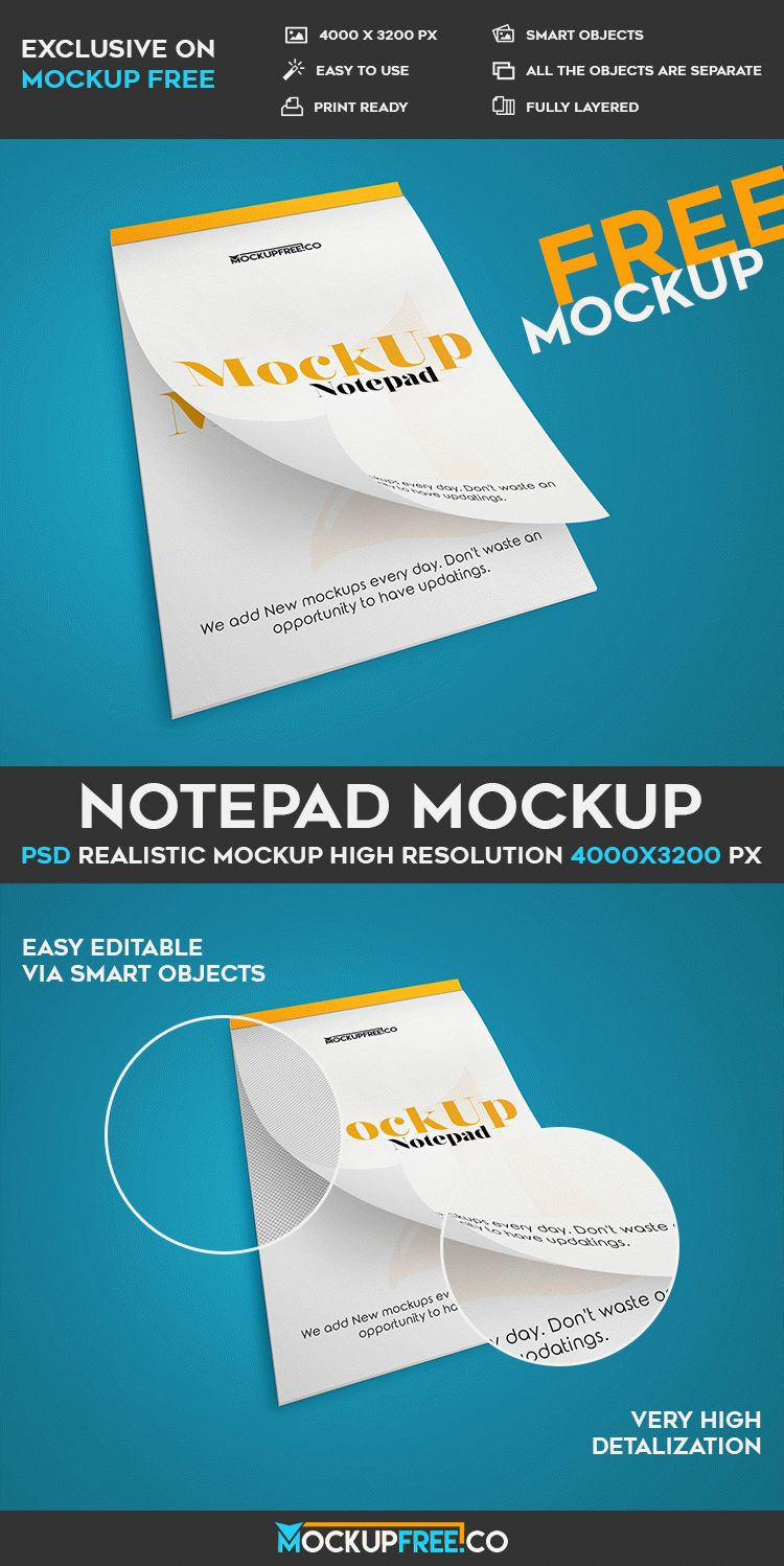 Preview one notepad free psd mockup