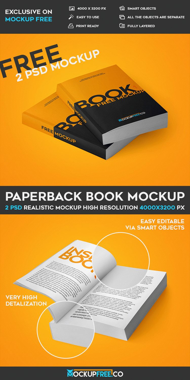 Paperback Book - 2 Free PSD Mockups