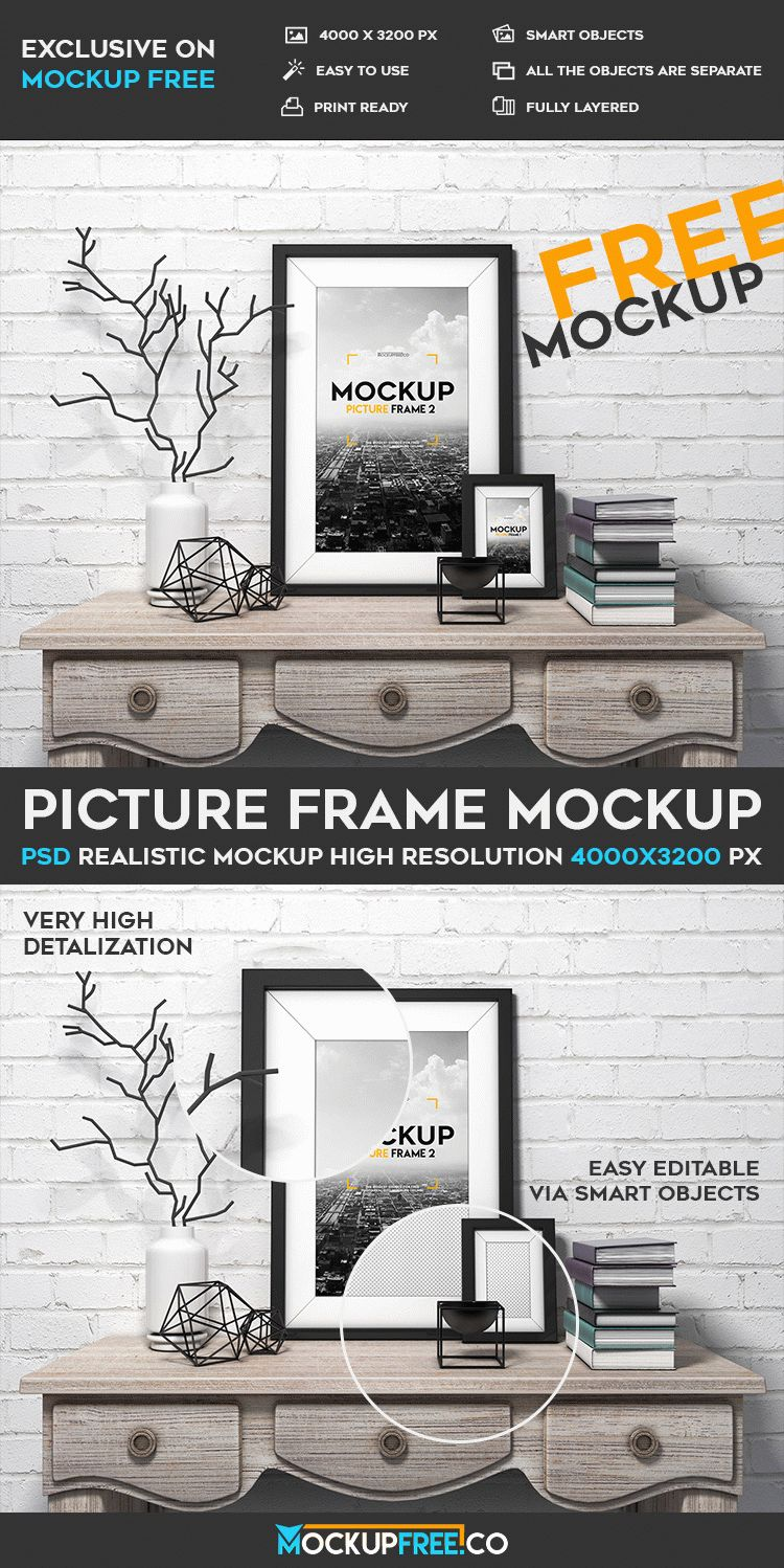 Picture frame free psd mockup download our new freebie from mockupfree picture frame free psd mockup for promoting any necessary products services and other ideas using this amazing jeuxipadfo Images