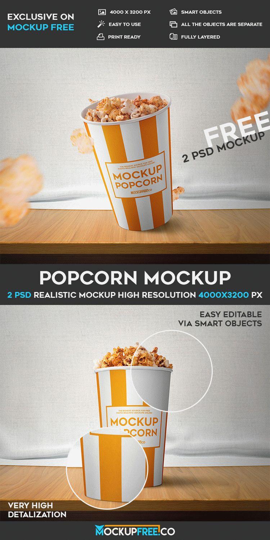 Popcorn - 2 Free PSD Mockups