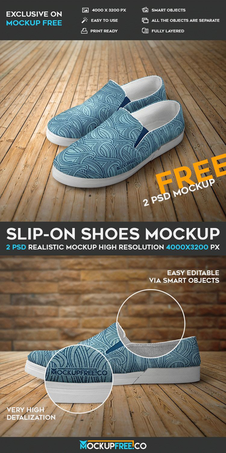 Slip-on Shoes - 2 Free PSD Mockups