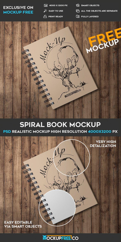 Spiral Book - 3 Free PSD Mockups