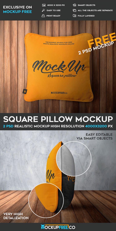 Square Pillow - 2 Free PSD Mockups