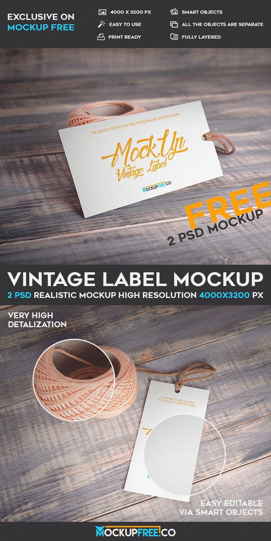 Vintage Label - 2 Free PSD Mockups