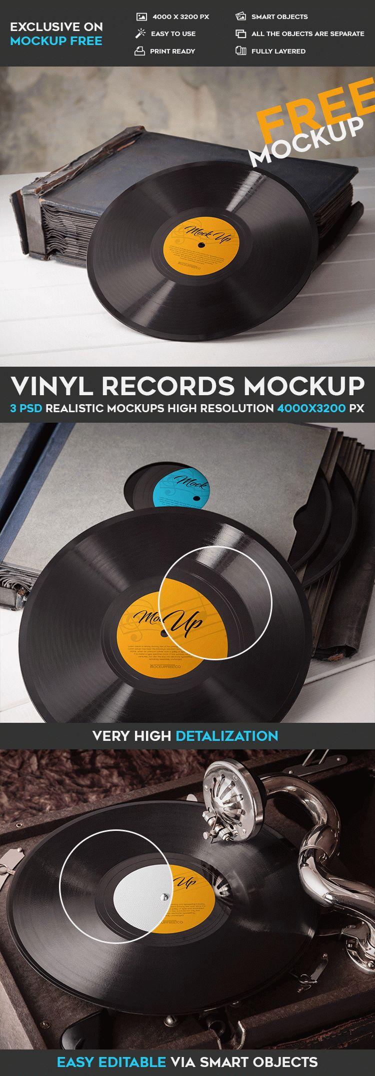 Vinyl Records – 3 Free PSD Mockups