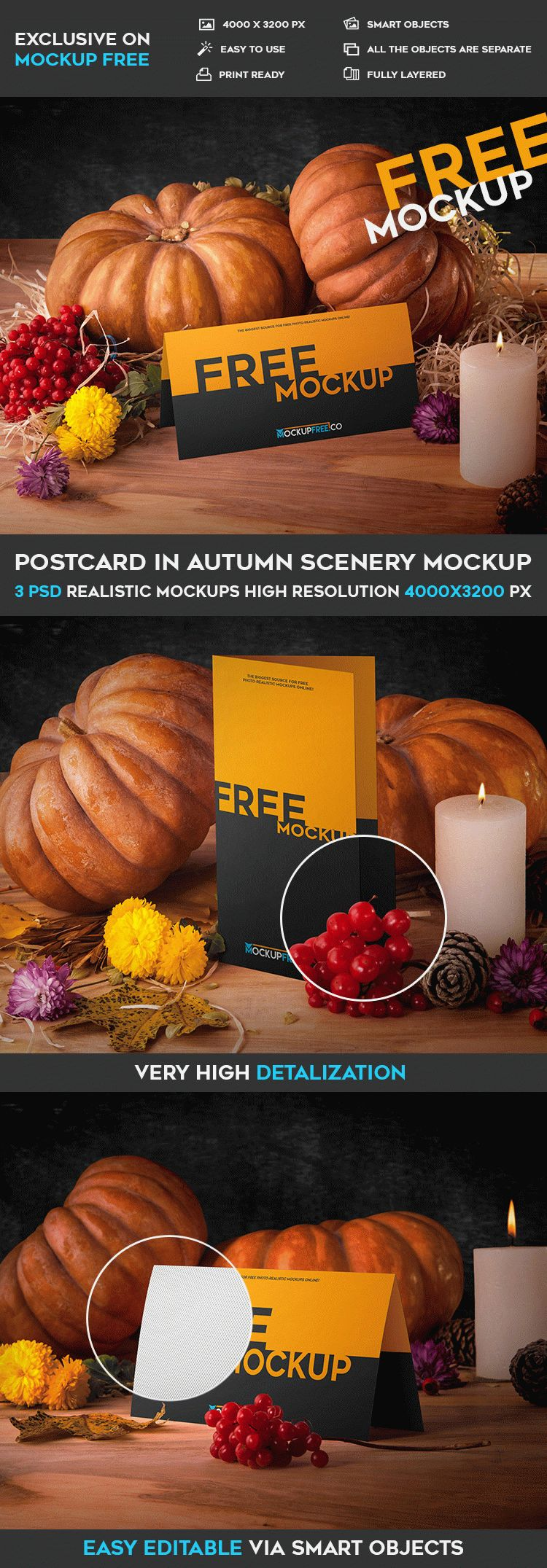 Postcard in Autumn Scenery – 3 Free PSD Mockups