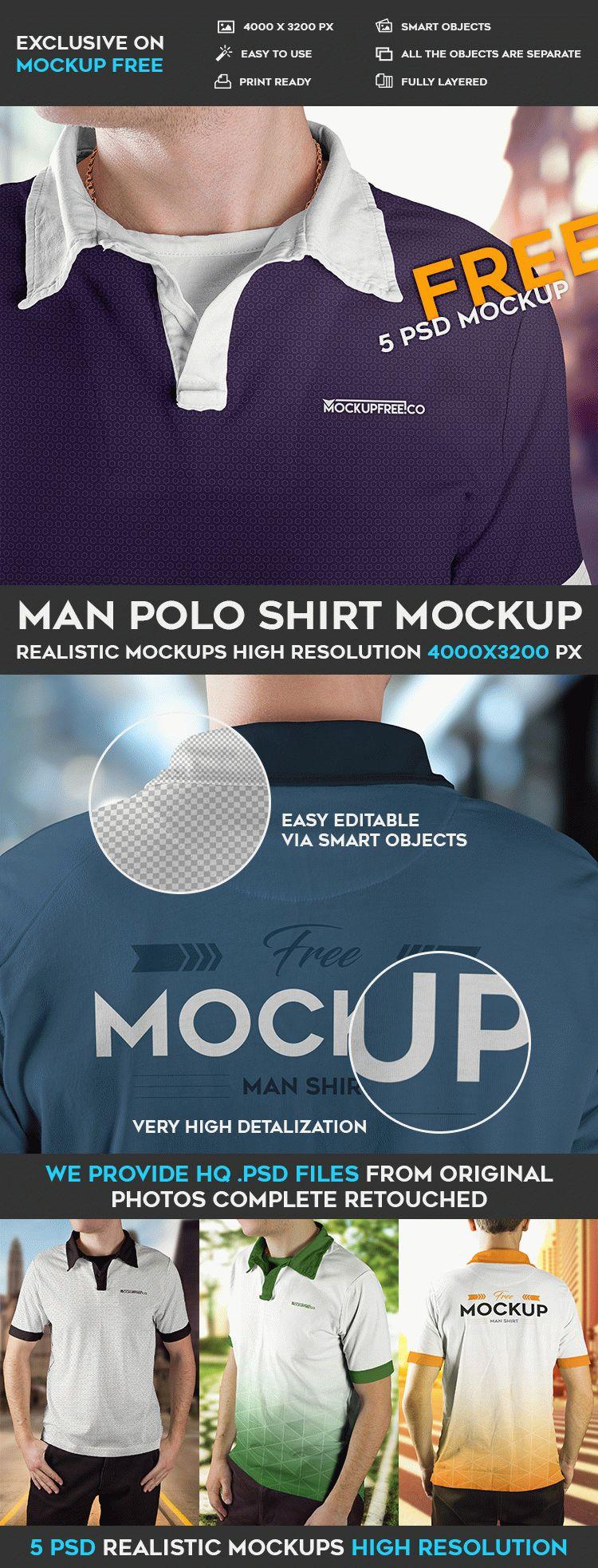 Man Polo Shirt - 5 Free PSD Mockups