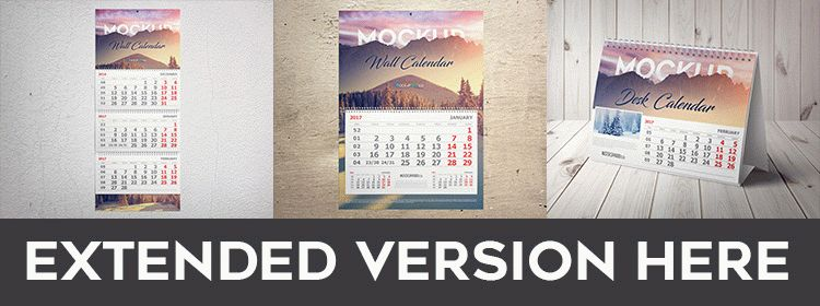 Wall Calendar - Free PSD Mockup