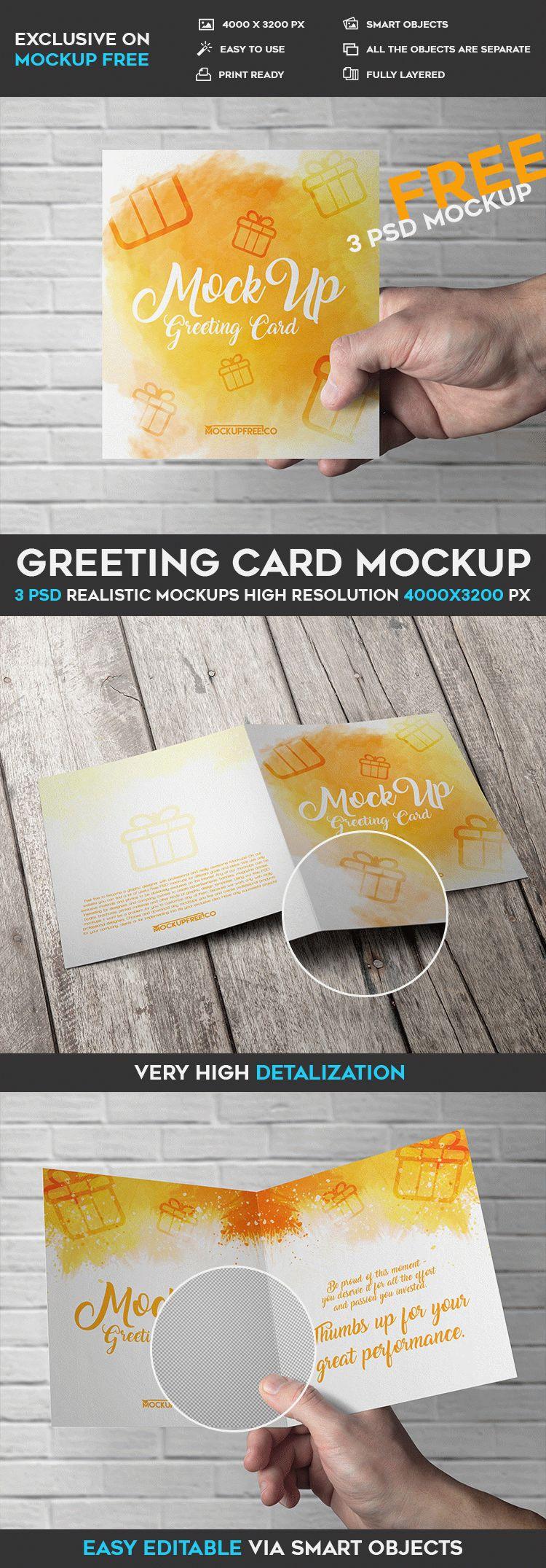Greeting Card - 3 Free PSD Mockups