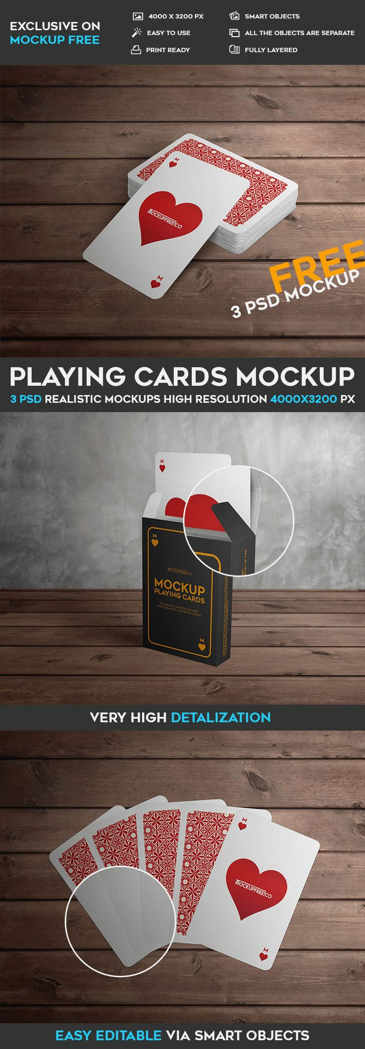 Playing Cards - 3 Free PSD Mockups