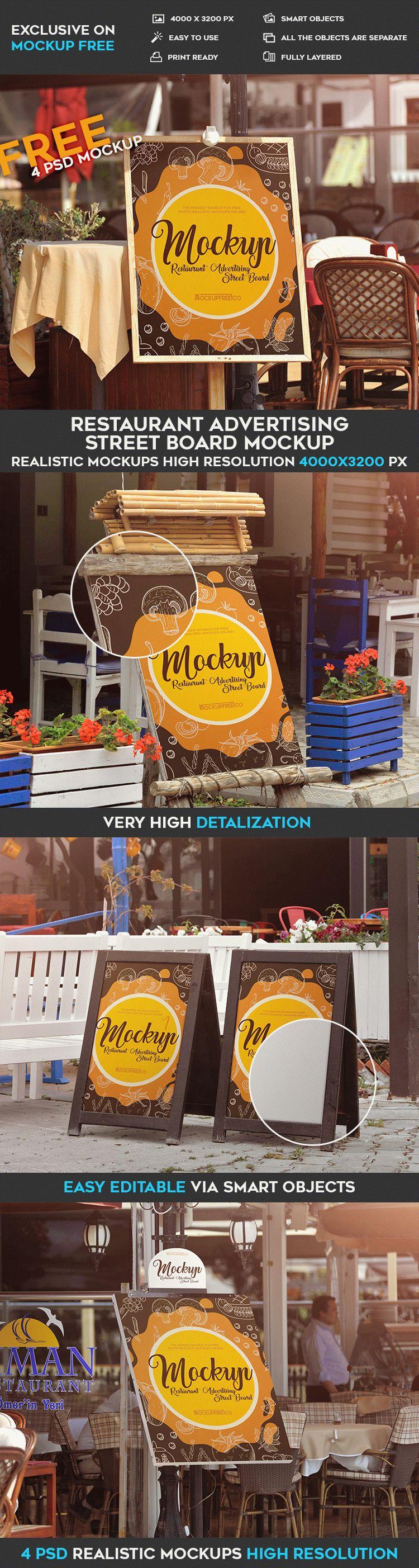 Restaurant Advertising Street Board - 4 Free PSD Mockups
