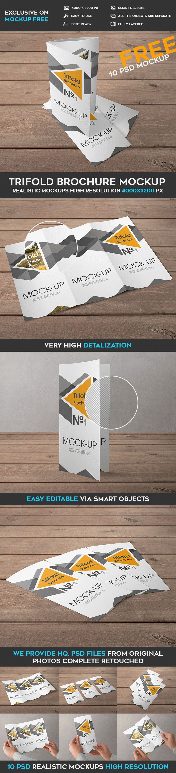 Trifold Brochure - 10 Free PSD Mockups