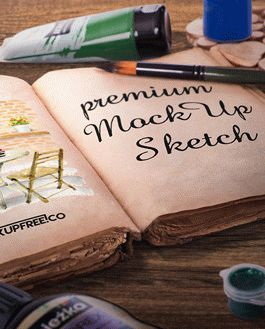 Artist Sketch Book Premium Mockup With Logo