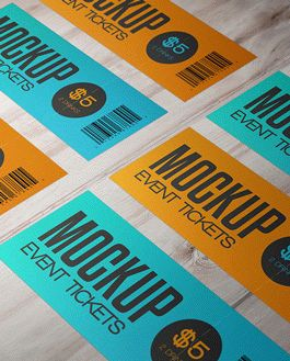 Event Tickets Premium Mockup With Logo