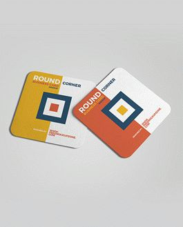 Free square round corner business card mockup 2018 download reheart Image collections