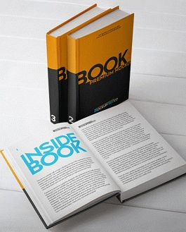 Hard Cover Book Premium Mockup With Logo
