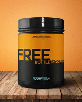 Sport Nutrition Bottle Free Mockup With Logo