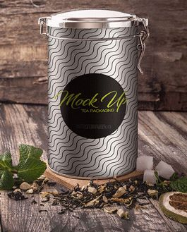 Tea Packaging Mockup With Logo