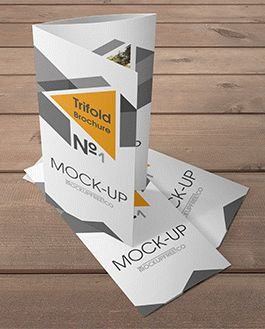 Trifold Brochure Premium Mockup With Logo