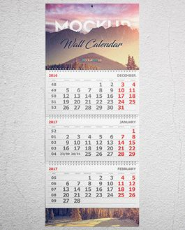 Wall And Desk Calendar Premium Mockup With Logo