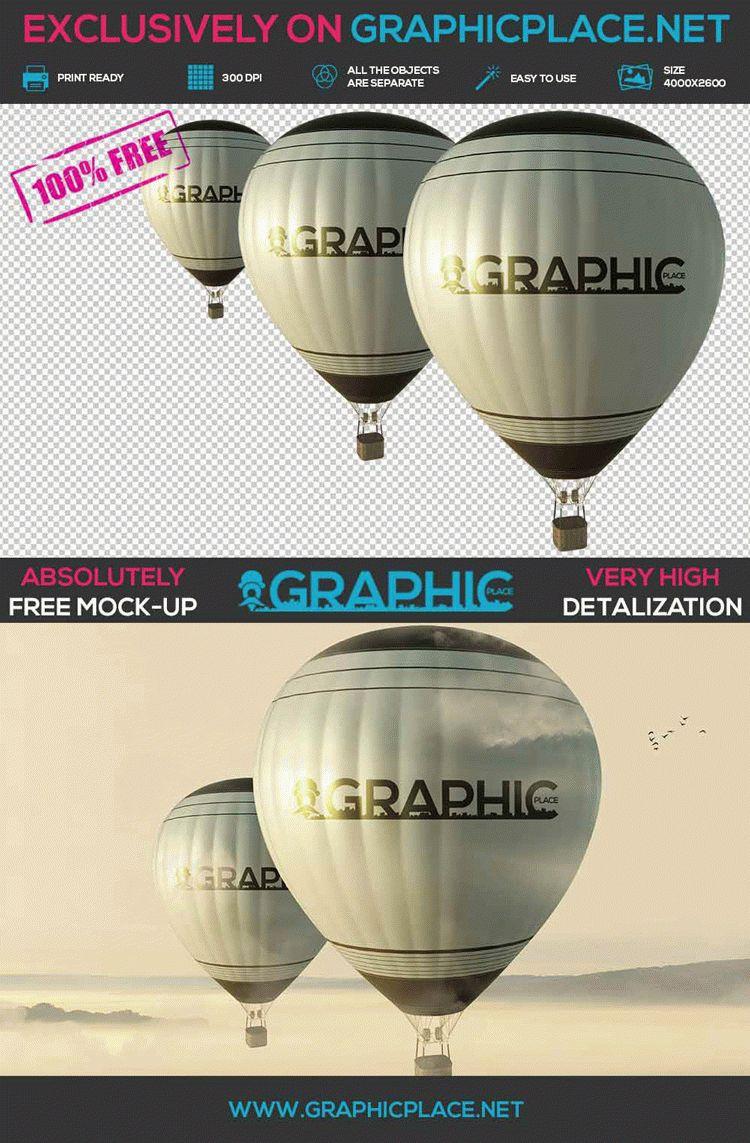 Air Balloons - Free PSD Mockup