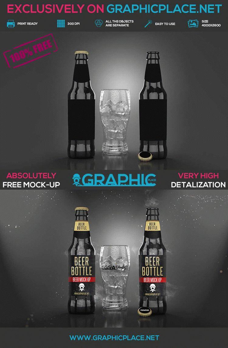 Beer Bottle - Free PSD Mockup
