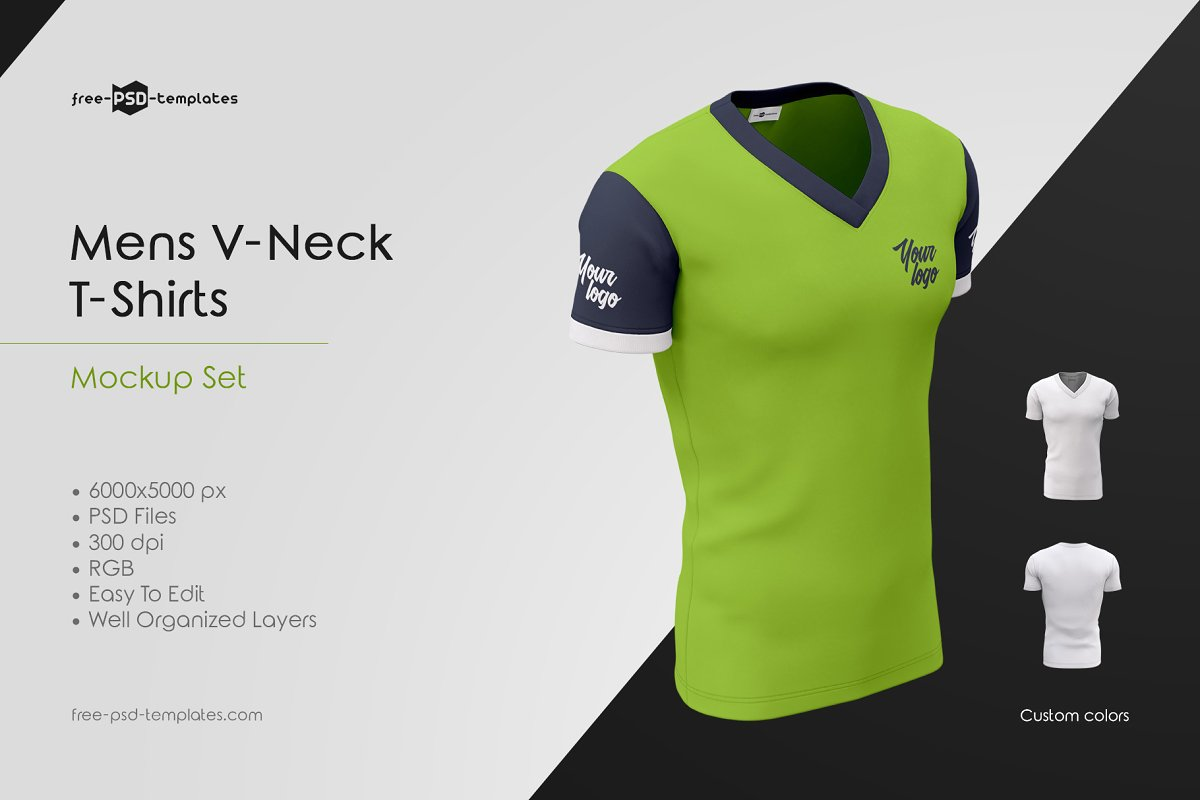 Download Mens V-Neck T-Shirts MockUp Set | Download Free Mockups