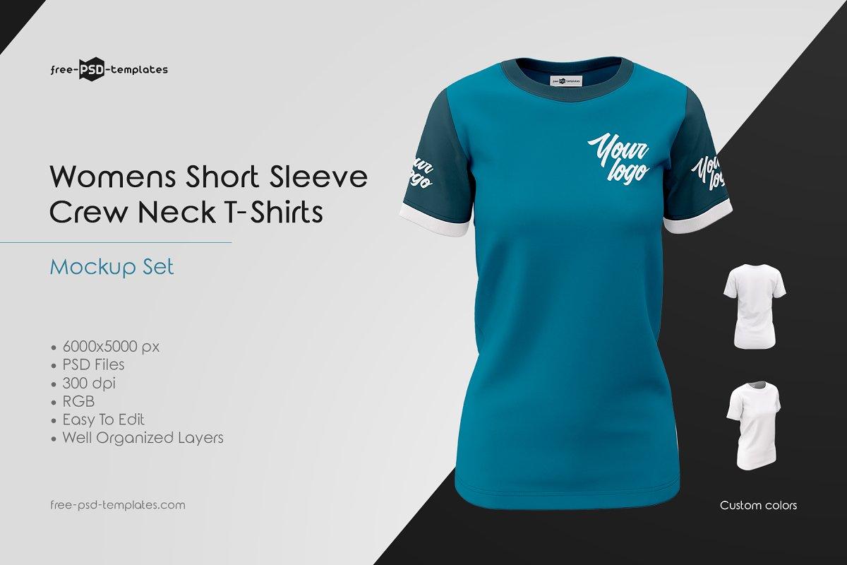 Womens Crew Neck T-Shirts MockUp Set | Download